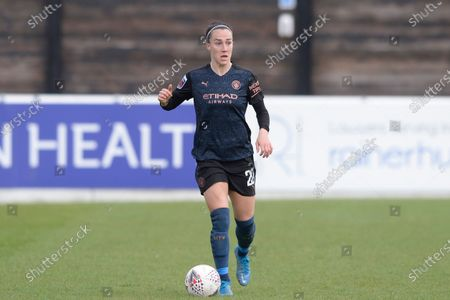 Stock Picture of Lucy Bronze of Manchester City Women in action during WomenÕs Super League match between West Ham Women and Manchester City Women at The Chigwell Construction Stadium in London - 9th May 2021