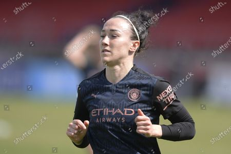 Stock Photo of Lucy Bronze of Manchester City Women in action during WomenÕs Super League match between West Ham Women and Manchester City Women at The Chigwell Construction Stadium in London - 9th May 2021