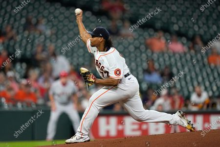 Houston Astros starting pitcher Luis Garcia throws against the Los Angeles Angels during the first inning of a baseball game, in Houston