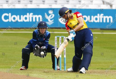 L-R Sarah Bryce of Kent Women  and Essex Women's Emma Jones during Women's County T20 South East Group  between Essex CCC and Kent CCC at The Cloudfm County Ground Chelmsford, on 09th May, 2021