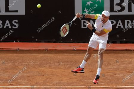 Spain's Roberto Bautista Agut serves the ball to Tommy Paul, of the United States, during their match at the Italian Open tennis tournament, in Rome