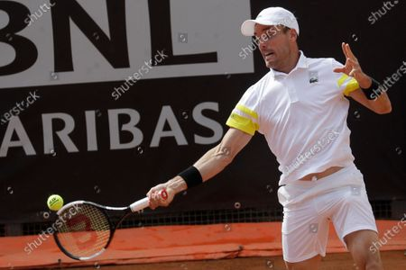 Spain's Roberto Bautista Agut returns the ball to Tommy Paul, of the United States, during their match at the Italian Open tennis tournament, in Rome