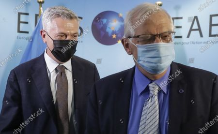 United Nations High Commissioner for Refugees Filippo Grandi, left, walks with European Union foreign policy chief Josep Borrell prior to a meeting at the EEAS building in Brussels
