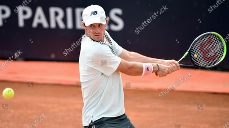 Tommy Paul of the USA in action against Roberto Bautista Agut of Spain during their men's singles first round match at the Italian Open tennis tournament in Rome, Italy, 11 May 2021.