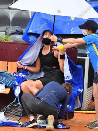 Garbine Muguruza of Spain reacts during her women's singles first round match against Patricia Maria Tig of Romania at the Italian Open tennis tournament in Rome, Italy, 11 May 2021.