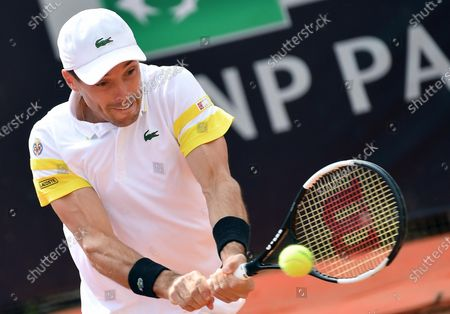Stock Image of Roberto Bautista Agut of Spain in action against Tommy Paul of the USA during their men's singles first round match at the Italian Open tennis tournament in Rome, Italy, 11 May 2021.