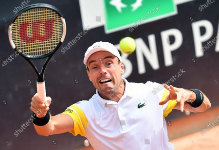 Roberto Bautista Agut of Spain in action against Tommy Paul of the USA during their men's singles first round match at the Italian Open tennis tournament in Rome, Italy, 11 May 2021.