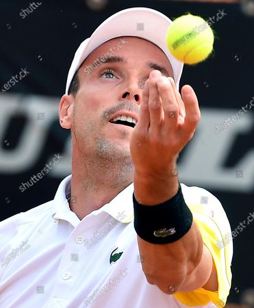 Stock Photo of Roberto Bautista Agut of Spain in action against Tommy Paul of the USA during their men's singles first round match at the Italian Open tennis tournament in Rome, Italy, 11 May 2021.