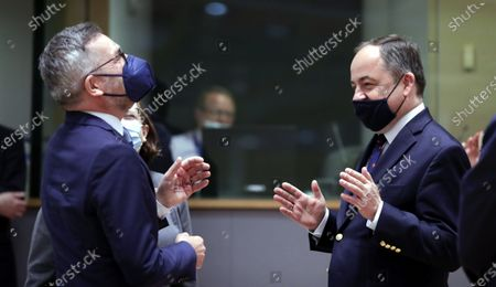 German Minister of State for European Affairs Michael Roth and Polish European Affairs minister Konrad Szymanski (R) at the start of the European Affairs Ministers Council in Brussels, Belgium, 11 May 2021. The Council will focus on the preparation of the European Council meeting on 24-25 May, EU-Switzerland relations and on the Covid-19 and Digital green certificate.