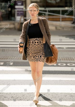 Stock Photo of Television presenter Rachel Riley arrives at The Royal Courts of Justice in London where she is currently suing Labour Party staff member Laura Murray for libel over a social media post.
