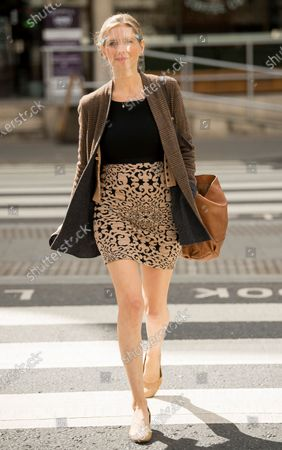 Television presenter Rachel Riley arrives at The Royal Courts of Justice in London where she is currently suing Labour Party staff member Laura Murray for libel over a social media post.
