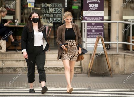 Television presenter Rachel Riley (right) arrives at The Royal Courts of Justice in London where she is currently suing Labour Party staff member Laura Murray for libel over a social media post.
