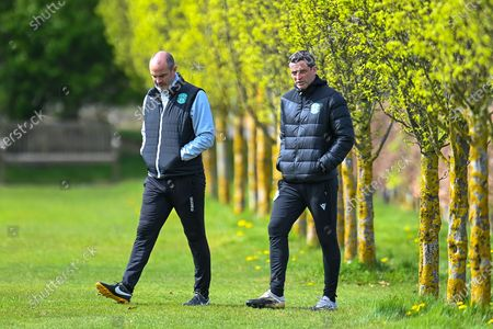 Hibernian FC assistant head coach, John Potter (left) and Hibernian FC manager, Jack Ross make their way to the pitches before the training session for Hibernian FC at the Hibernian Training Centre, Ormiston, East Lothian, ahead of their SPFL Premiership match against Aberdeen