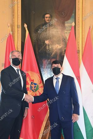 Montenegrin President Milo Djukanovic (L) shakes hands with his Hungarian counterpart Janos Ader (R) during their meeting in the presidential Alexander Palace in Budapest, Hungary, 11 May 2021.