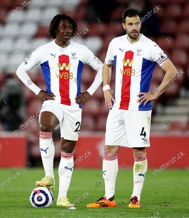 Stock Image of Eberechi Eze and Luka Milivojevic of Crystal Palace before a free kick.