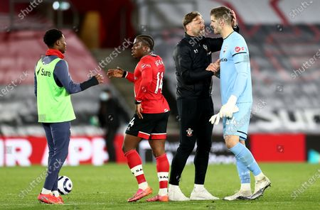 Stock Picture of Southampton Manager Ralph Hasenhuttl shakes hands with Fraser Forster of Southampton.