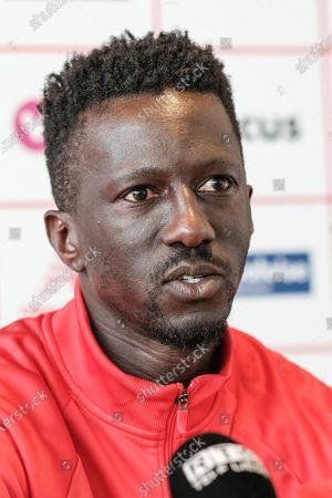 Standard's head coach Mbaye Leye pictured during a press conference of Belgian soccer team Standard de Liege, Tuesday 11 May 2021 in Liege, ahead of the third match in the Europe play-offs of the 'Jupiler Pro League' Belgian soccer championship.