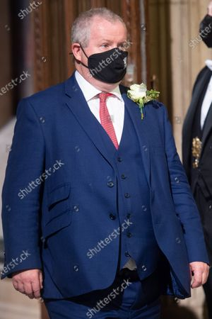 Stock Image of SNP Leader in Westminster Ian Blackford walks through the Member's Lobby in the House of Commons for the State Opening of Parliament at Houses Of Parliament, London, England, UK on Tuesday 11 May, 2021.