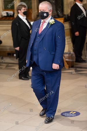 Stock Picture of SNP Leader in Westminster Ian Blackford walks through the Member's Lobby in the House of Commons for the State Opening of Parliament at Houses Of Parliament, London, England, UK on Tuesday 11 May, 2021.