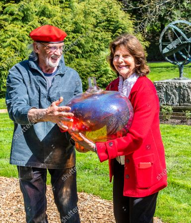 "Queen Silvia inaugurates glass artist Bertil Vallien's exhibition ""Gatekeeper"" at Solliden Palace on Oland"