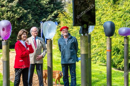 "Stock Image of Queen Silvia, dog Brandie and King Carl Gustaf of Sweden inaugurate glass artist Bertil Vallien's exhibition ""Gatekeeper"" at Solliden Palace on Oland, Sweden, on May 11, 2021."