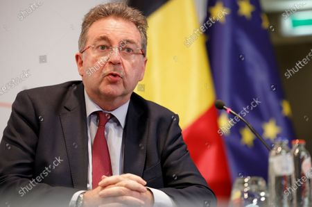 Brussels region Minister-President Rudi Vervoort speaks during a media conference after a Belgian government meeting to discuss coronavirus, COVID-19, measures in Brussels