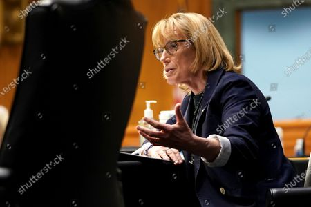 United States Senator Maggie Hassan (Democrat of New Hampshire) asks questions during a Senate Health, Education, Labor and Pensions Committee hearing to discuss the on-going federal response to Covid-19 at the U.S. Capitol in Washington, D.C.