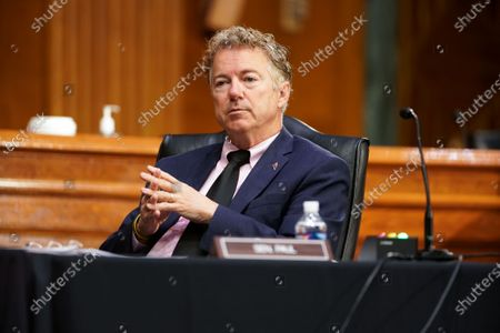 Sen. Rand Paul (R-Ky.) listens to Dr. Anthony Fauci, director of the National Institute of Allergy and Infectious Diseases, during a Senate Health, Education, Labor and Pensions Committee hearing to discuss the on-going federal response to Covid-19 at the US Capitol in Washington, DC, USA, 11 May 2021.