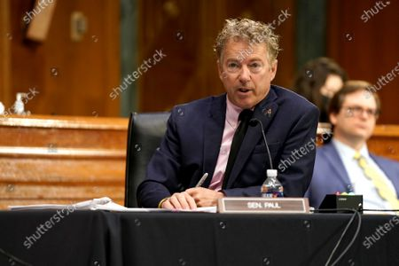 Sen. Rand Paul (R-Ky.) questions Dr. Anthony Fauci, director of the National Institute of Allergy and Infectious Diseases, about gain of function research during a Senate Health, Education, Labor and Pensions Committee hearing to discuss the on-going federal response to Covid-19 at the US Capitol in Washington, DC, USA, 11 May 2021.