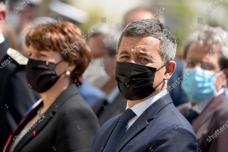 French Interior Minister Gerald Darmanin looks on during a ceremony to pay tribute to police officer Eric Masson, who was killed on May 5 during an anti-drug operation, in Avignon France, 11 May 2021.