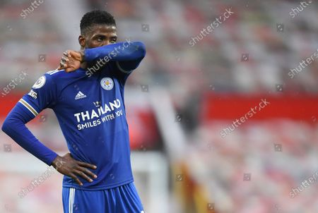 Leicester City's Kelechi Iheanacho reacts during the English Premier League soccer match between Manchester United and Leicester City, at the Old Trafford stadium in Manchester, England