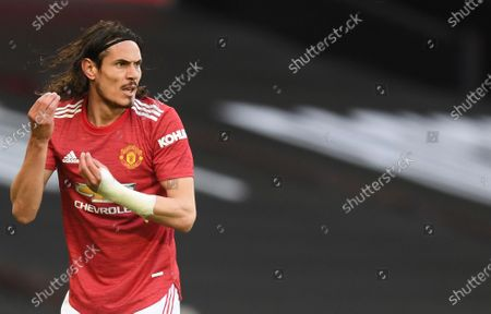 Stock Image of Manchester United's Edinson Cavani reacts during the English Premier League soccer match between Manchester United and Leicester City, at the Old Trafford stadium in Manchester, England