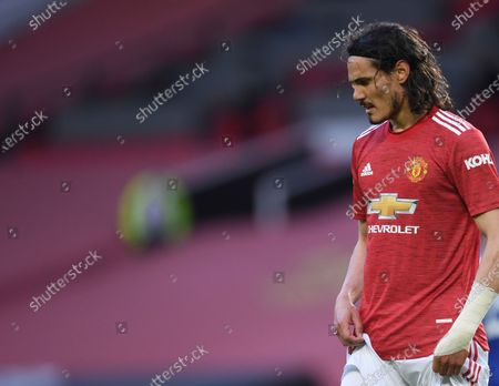 Stock Picture of Manchester United's Edinson Cavani leaves the field after the English Premier League soccer match between Manchester United and Leicester City, at the Old Trafford stadium in Manchester, England