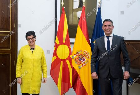 Spanish Foreign Affairs minister Arancha Gonzalez Laya (L) poses with North Macedonia's counterpart Zoran Zaev (R), during their meeting held at Viana Palace, in Madrid, Spain, 11 May 2021.