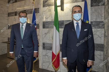 Stock Photo of Italian Foreign Minister Luigi Di Maio welcomes COP 26 President Alok Sharma (L) before their meeting at Farnesina Palace, Rome, Italy, 11 May 2021.
