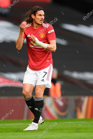 Manchester United's Edinson Cavani during the English Premier League soccer match between Manchester United and Leicester City in Manchester, Britain, 11 May 2021.