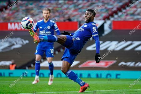 Leicester's Kelechi Iheanacho in action during the English Premier League soccer match between Manchester United and Leicester City in Manchester, Britain, 11 May 2021.