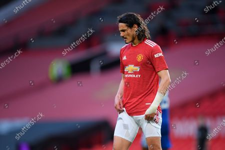 Stock Photo of Manchester United's Edinson Cavani after the English Premier League soccer match between Manchester United and Leicester City in Manchester, Britain, 11 May 2021.