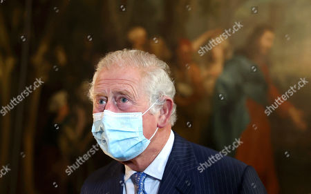 Prince Charles, Prince Charles during a visit to view St Bartholomew's Hospital North Wing, which includes the Great Hall and staircase which features paintings by artist William Hogarth on May 11, 2021 in London, England.
