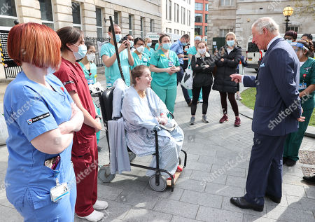 Prince Charles, Prince Charles speaks with a patient and nursing staff during a visit to St Bartholomew's Hospital, ahead of International Nurses Day at St Bartholomew's Hospital on May 11, 2021 in London, England.