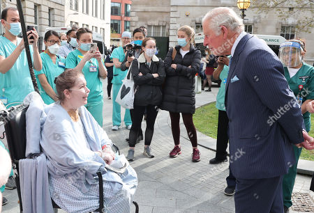 Prince Charles, Prince Charles speaks with a patient during a visit to St Bartholomew's Hospital, ahead of International Nurses Day at St Bartholomew's Hospital on May 11, 2021 in London, England.