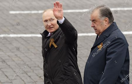 Celebrating Victory Day. A military parade on Red Square, dedicated to the 76th anniversary of Victory in the Great Patriotic War. Russian President Vladimir Putin (left) and Tajik President Emomali Rahmon (right) before the parade.May 09, 2021.