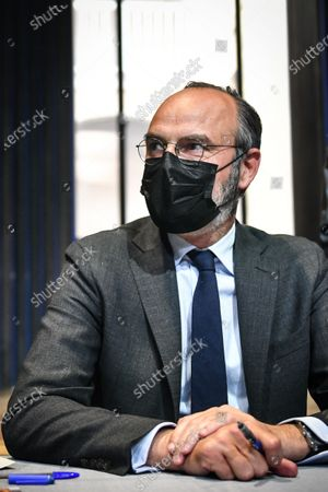 Le Havre Mayor and Former French prime minister Edouard Philippe signs the book he writes with his former counsellor and European deputy Gilles Boyer called Impressions and clear lines at the Mollat library.