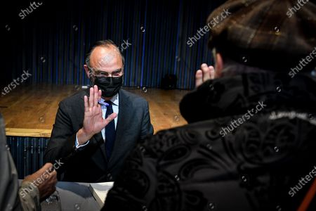 Stock Image of Le Havre Mayor and Former French prime minister Edouard Philippe signs the book he writes with his former counsellor and European deputy Gilles Boyer called Impressions and clear lines at the Mollat library.