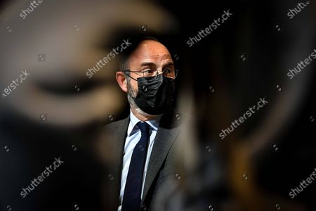 Stock Photo of Le Havre Mayor and Former French prime minister Edouard Philippe signs the book he writes with his former counsellor and European deputy Gilles Boyer called Impressions and clear lines at the Mollat library.