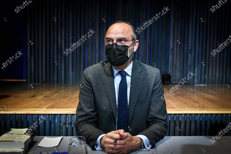 Stock Picture of Le Havre Mayor and Former French prime minister Edouard Philippe signs the book he writes with his former counsellor and European deputy Gilles Boyer called Impressions and clear lines at the Mollat library.
