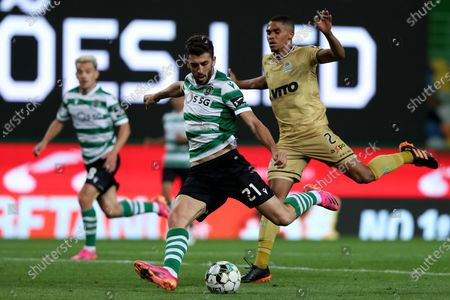 Stock Image of Paulinho of Sporting CP (C ) vies with Reggie Cannon of Boavista FC during the Portuguese League football match between Sporting CP and Boavista FC at Jose Alvalade stadium in Lisbon, Portugal on May 11, 2021.
