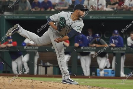 Seattle Mariners relief pitcher Aaron Fletcher throws against the Texas Rangers during a baseball game, in Arlington, Texas