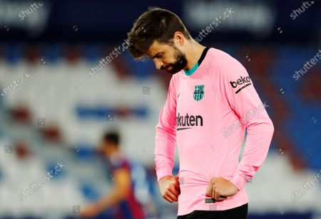 FC Barceona's defender Gerard Pique reacts at the end of the Spanish LaLiga soccer match between Levante UD and FC Barcelona at Ciutat de Valencia stadium in Valencia, eastern Spain, 11 May 2021.