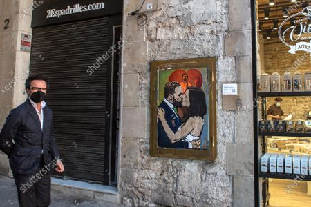 Editorial photo of 'Gone with the kiss' graffiti by TVBoy in Barcelona, Spain - 10 May 2021